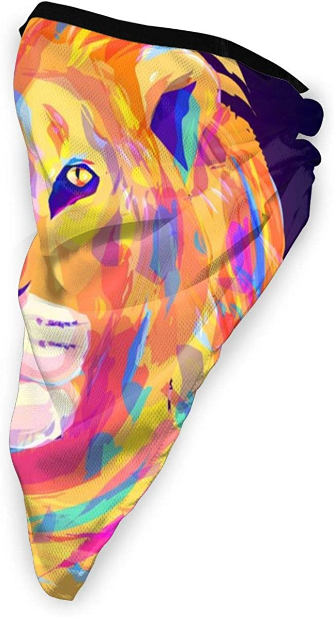 The Cute Colored Lion Head Vector Image Neck Gaiter Warmer Windproof Mask Balaclava Face Mask Sports Mask For Outdoor Men And Women Free UV Customized