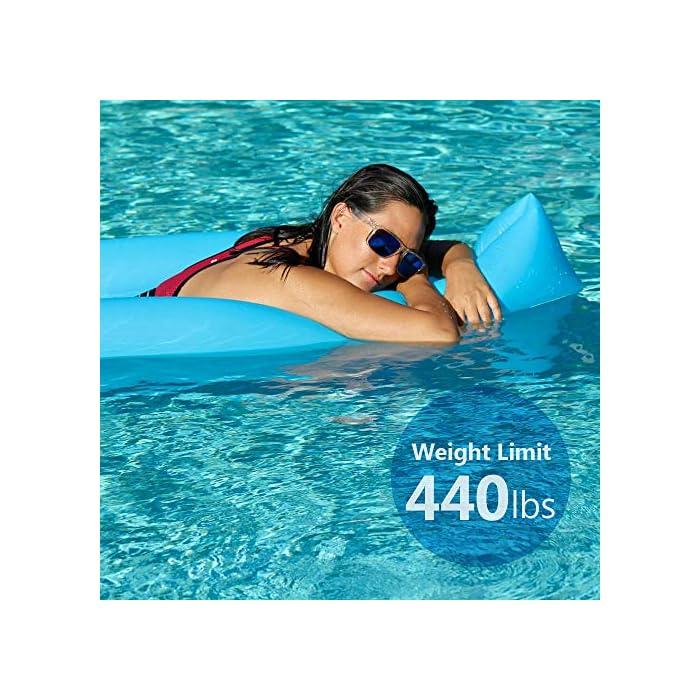 61Hjod1jR6L Adecuado para muchas ocasiones: la Hamaca de agua flotante para nadar es ideal para un día en la piscina, el lago o el océano. Mantén tu cuerpo mojado y apoya la cabeza a flote por encima del agua. Fácil de inflar: infle el tumbona de flotante en condiciones de viento. Si es un día ventoso, simplemente abre la boca de la tumbona de flotador en el viento para inflarla. Use un ventilador para infle si el viento es insignificante o si está en casa. Cómodo y duradero: la cama de malla suave suspende su cuerpo justo debajo de la superficie del agua para mantenerlo fresco. Compuesto por nailon impermeable, este flotador es de punto, fino y suave.