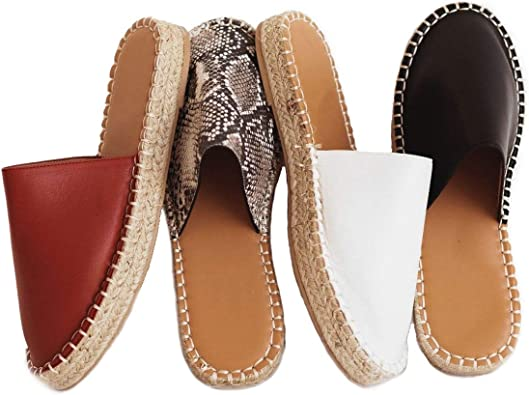 Ladies Summer Sandals Womens Closed Toe Walking Moccasin slip Shoes Espidrilles