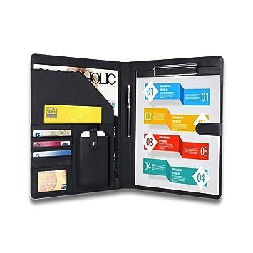 padfolio businessresume portfolio ahgxg leather folders with clipboard document organizer with paper clip