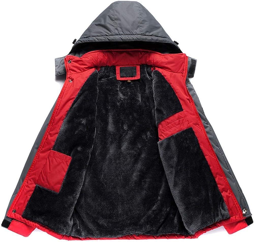 Mens Outdoor Sport Coat,Winter Windbreaker Hooded Outwear Zipper Thick Plus Size Overcoat