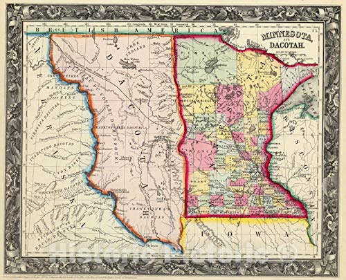 (Historic Map | 1860 Minnesota, And Dacotah. | Vintage Wall Art | 30in x)