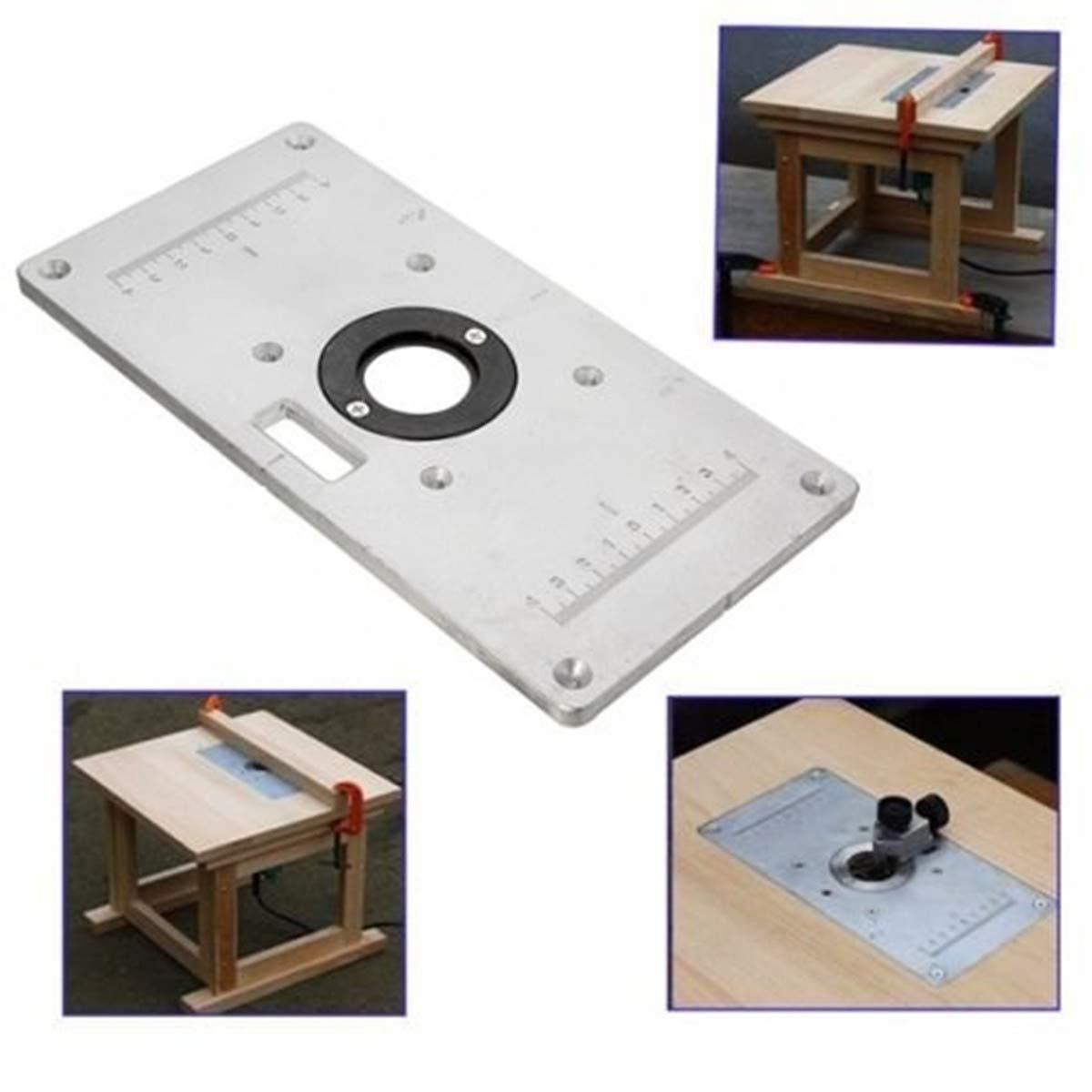 Tanchen 9.3x4.7x0.3in Aluminum Router Table Insert Plate For Wood Working Benches
