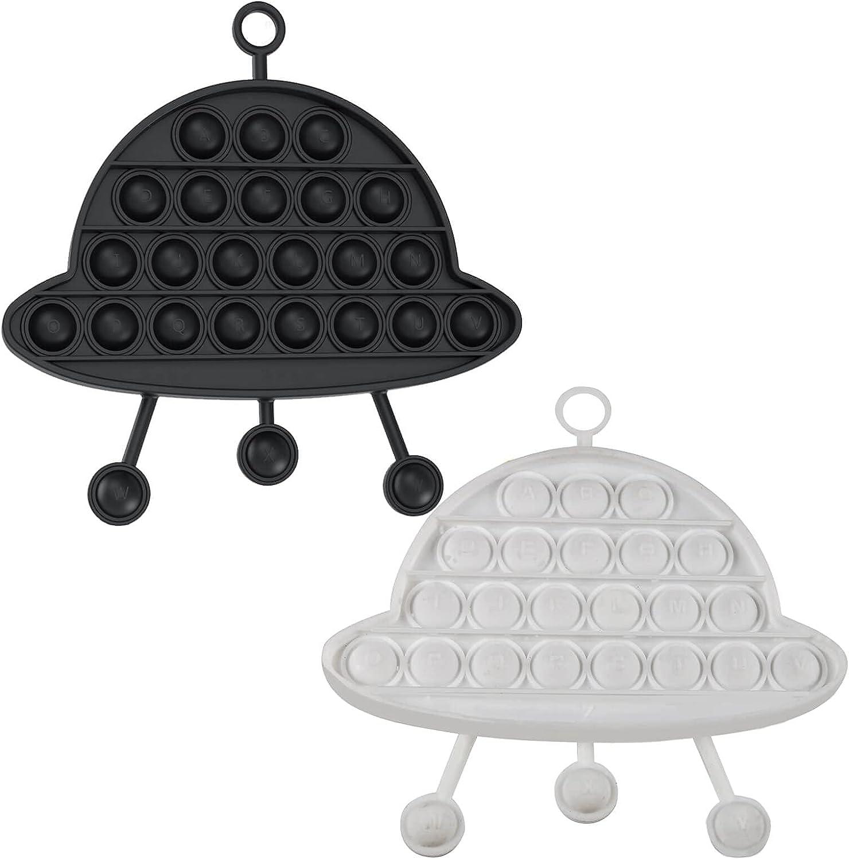 Push Pop Bubble Fidget Sensory Toy, 2 Pcs Unique Fidget Cheap Silicone Stress Reliever Kids Puzzle Game with Alphabet Letters for Autism Anxiety Stress Relief Hanging Wall Decor (Black/White)