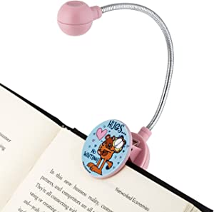 """WITHit Clip On Book Light – Garfield """"Hugs"""" Pink – LED Reading Light with Clip for Books/eBooks, Reduced Glare, Portable and Lightweight, Cute Bookmark Light for Kids and Adults, Batteries Included"""