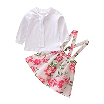 iumei Bowknot Long Sleeve Blouse Tops Floral Suspender Skirt Outfit Suit For Baby Girls