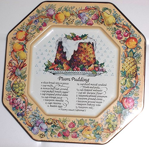 Avon Hospitality - Avon Hospitality Sweets Recipe Plate Plum Pudding, 1982 Avon Tin Plate
