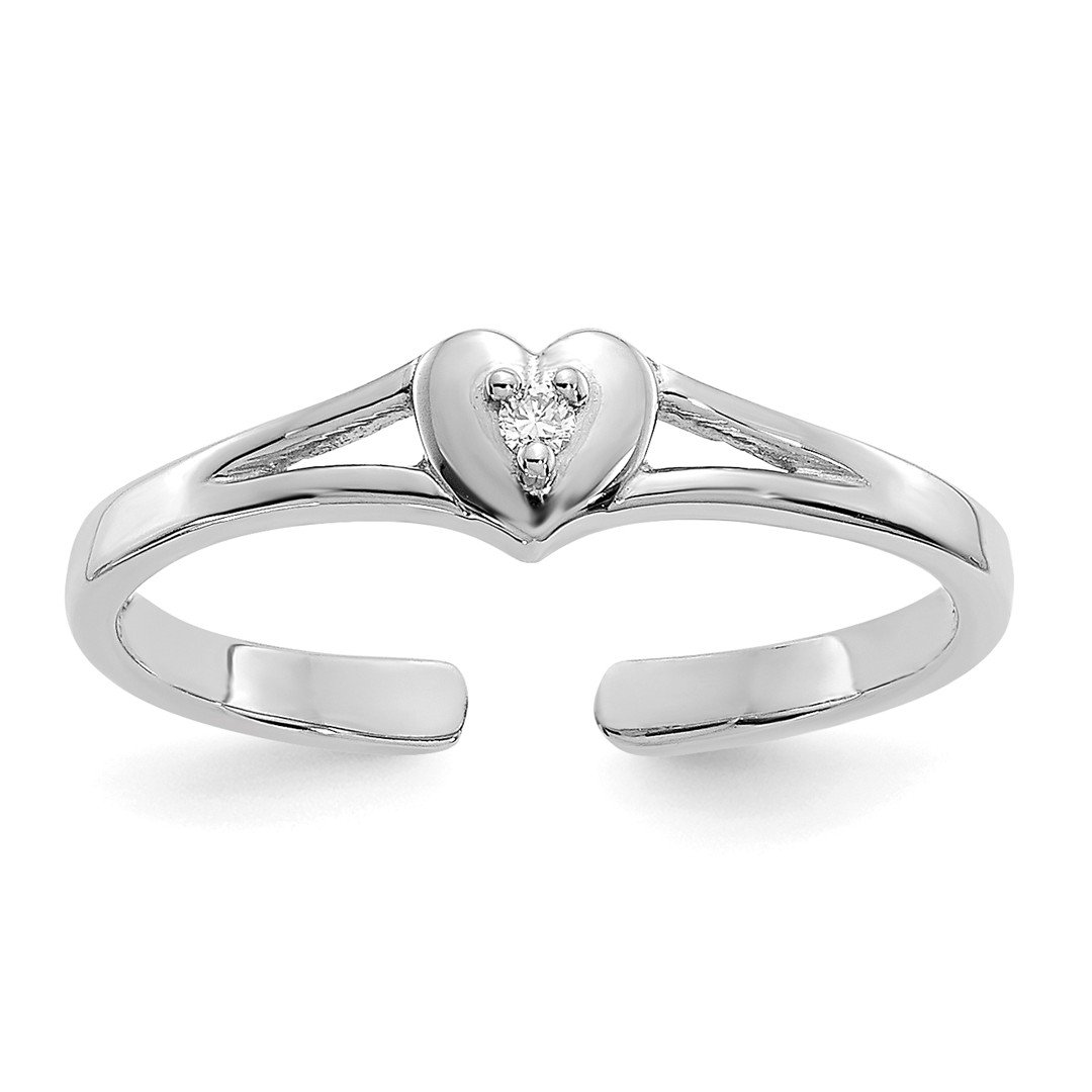 ICE CARATS 14k White Gold .01ct Diamond Heart Adjustable Cute Toe Ring Set Fine Jewelry Gift Set For Women Heart