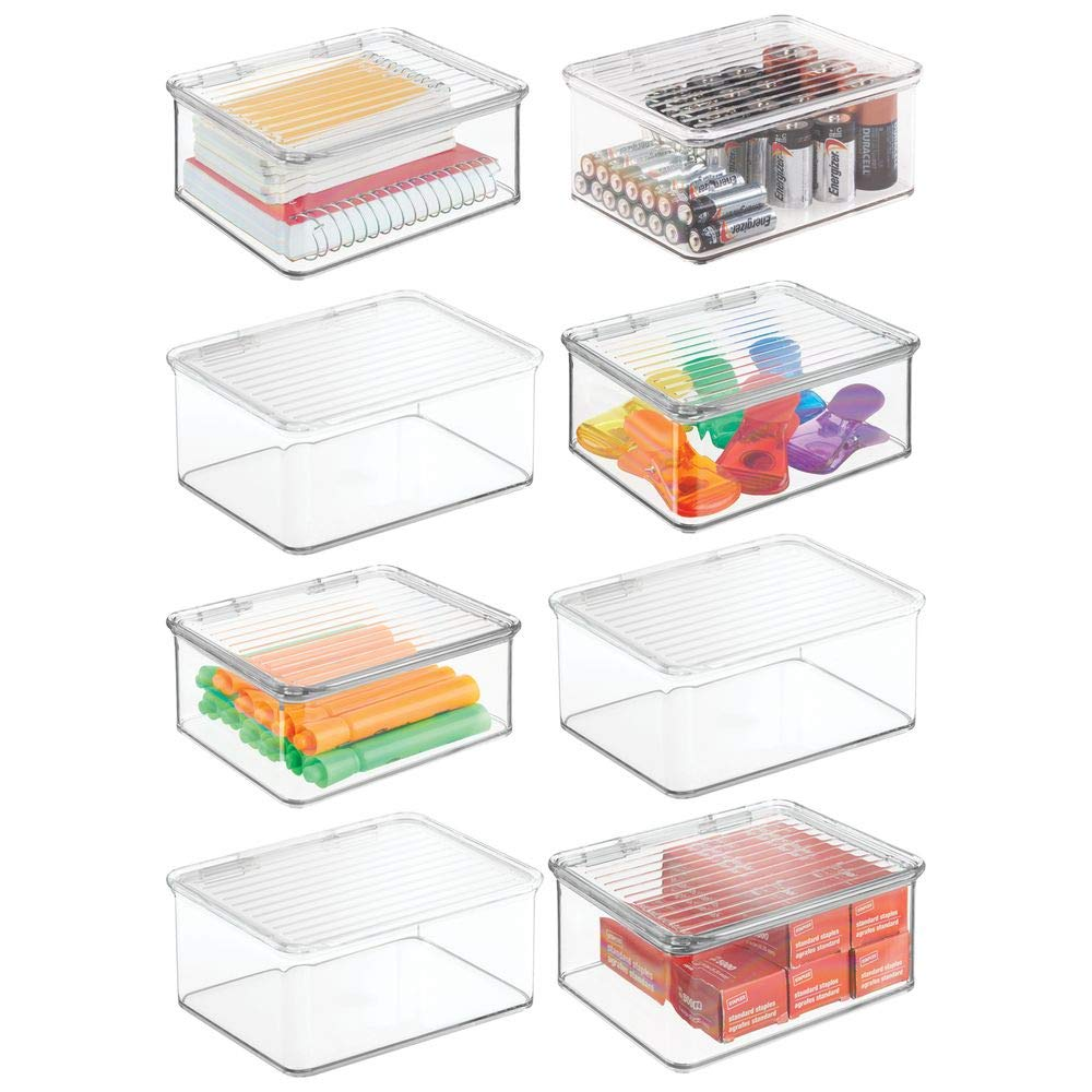 mDesign Small Mini Plastic Stackable Home, Office Supplies Storage Organizer Box with Attached Hinged Lid - Holder Bin for Note Pads, Gel Pens, Staples, Dry Erase Markers, Tape - 8 Pack - Clear