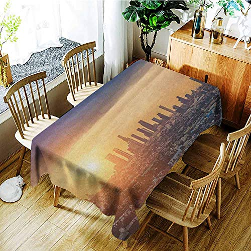 XXANS Spill-Proof Table Cover,City,Sunrise at Los Angeles Urban Architecture Tranquil Scenery Majestic Sky,Table Cover for Kitchen Dinning Tabletop Decoratio,W52x70L Navy Blue Apricot Ivory