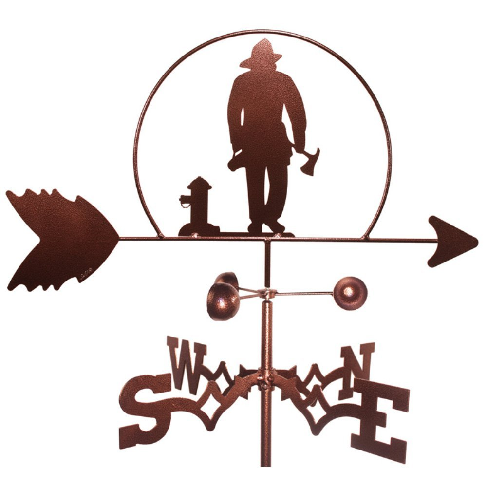 Hand Made FIREMAN FIRE FIGHTER GARDEN Stake Weathervane NEW SWEN Products