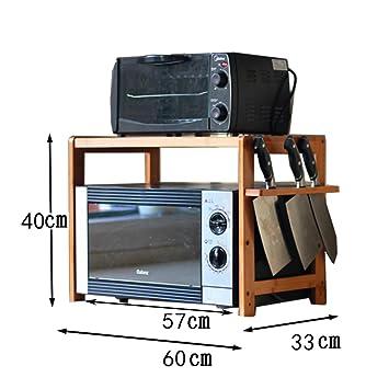 WENZHE Estantería Cocina Baldas Estufa Horno Microondas Condimento Almacenamiento Clasificar Multifunción, Bambú, 4 Estilos