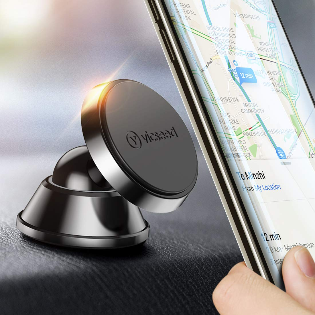 VICSEED 3M Magnetic Phone Holder, N52 Magnetic Car Phone Holder Car Dashboard Phone Holder 360°Rotation Car Mount Universal Car Cradle Compatible iPhone XS Max XR X 8 7 Samsung Galaxy S10+ S10e Huawei EZ05CTBK2C