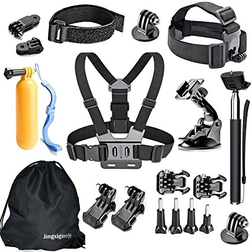 JingXiGuoJi 20-in-1 Accessories Kit/Bundles for GoPro Black Session Hero 6 5 4 3 2 1 SJ5000 Action Camera by JingXiGuoJi