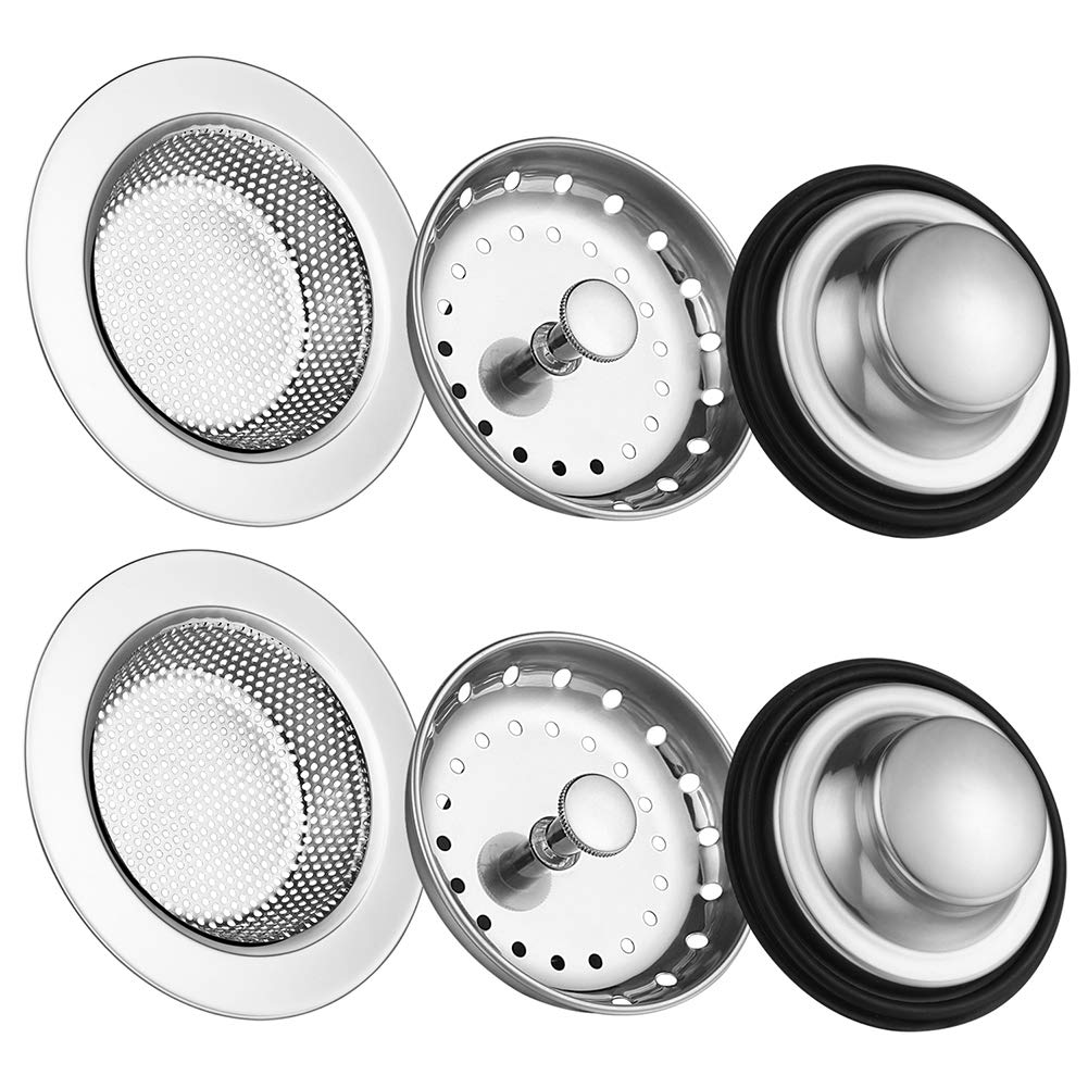 6 Pack of Kitchen Sink Stopper Strainer,Carry360 Anti-Clogging Stainless Steel Sink Disposal Stopper, Perforated Basket Drain Filter Sieve or Keep Water for Kitchen Sink Drain by Carry360