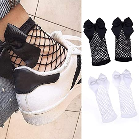 2 Pairs Women Black Fashion Fishnet Socks with Bow Fast Delivery