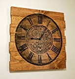 Large Wood Wall Clock Chronograph Design on Stained Distressed Boards 25'' x 25''