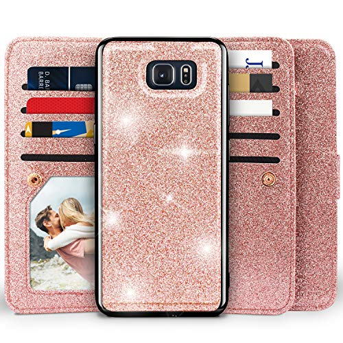 Galaxy Note 5 Wallet Case, Miss Arts Detachable Magnetic Slim Case with Car Mount Holder, 9 Card/Cash Slots, Magnet Clip, Wrist Strap, PU Leather Cover for Samsung Galaxy Note 5 -Rose Gold
