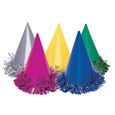 Fringed Foil Party Hats, Assorted 6ct: Kitchen & Dining