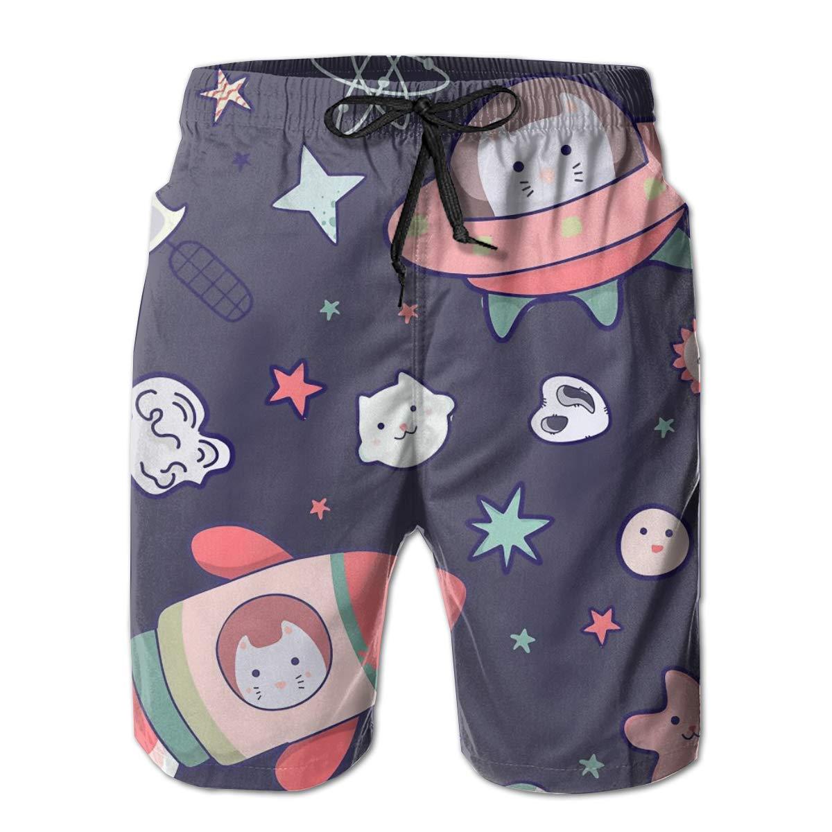 SARA NELL Mens Shorts Japanese Kawaii Cat Travels in Space UFO Rocket Quick Dry Swim Trunks Beach Board Shorts