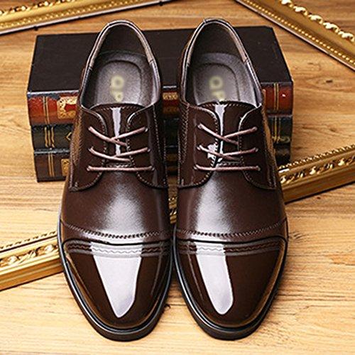 Chaussures De Mode Pour Hommes En Cuir D'affaires Formelle Bout Pointu Lace Up Oxford Uniformes Chaussures Casual Derby De Mariage Chaussures Brown eF3nemF