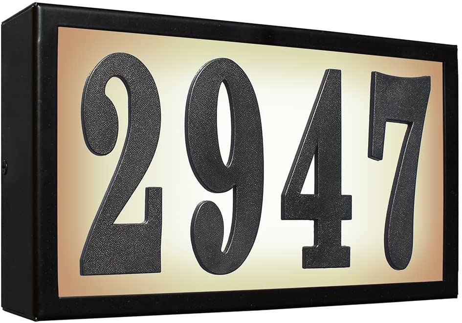 Serrano Lighted Address Plaque SRST-AB60-BLK Standard Serrano Low Voltage Rust Free Galvanized Steel Rectangular Lighted Address Plaque with 4-Inch Black Polymer Numbers