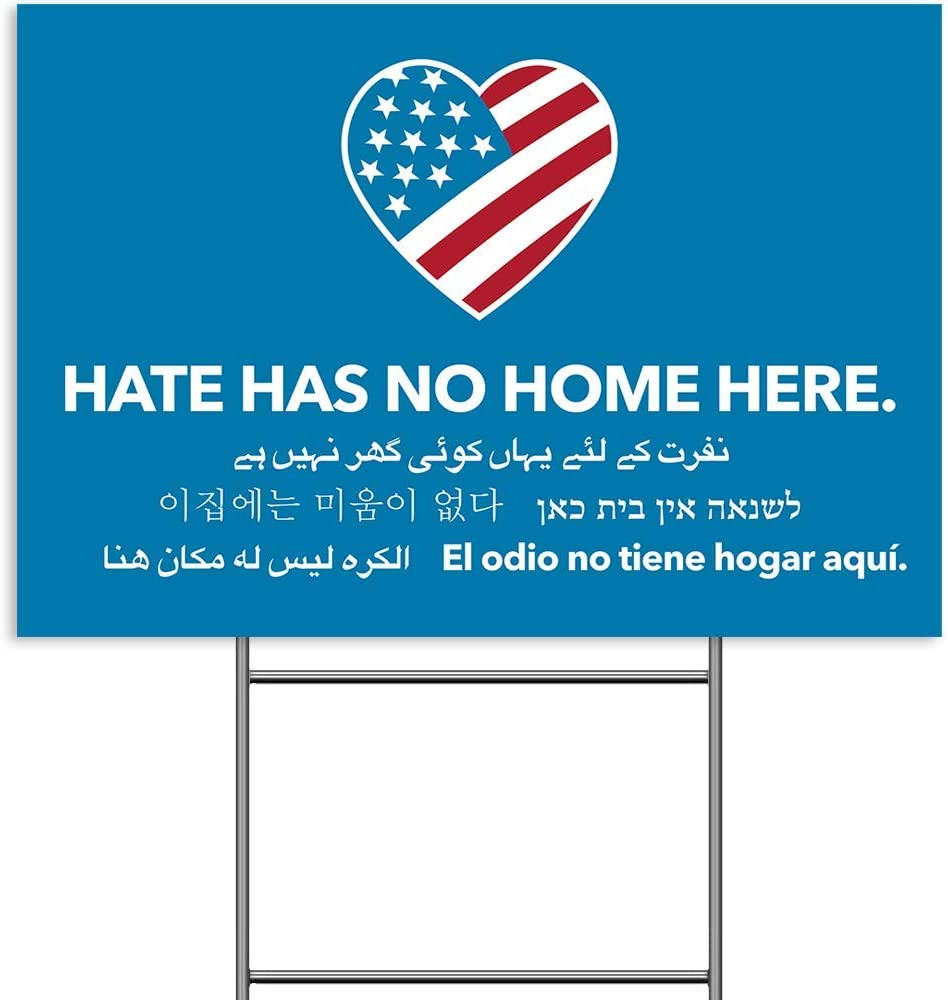 BITEXPRESS Hate Has No Home Here Yard Sign, Weatherproof Corrugated Plastic Anti Racism BLM Movement, UV Double Sided Print Political Lawn Sign with Metal Stake for Outdoor Patio Garden 18