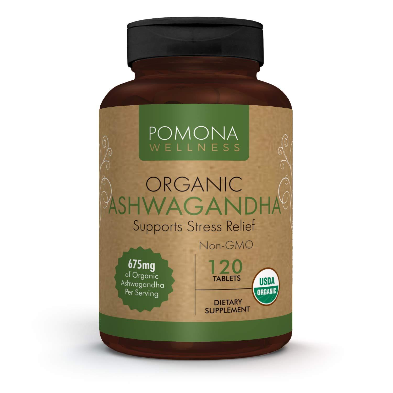 POMONA WELLNESS Organic Ashwagandha Root Powder Supplement | 1,350 mg | Natural Anxiety & Stress Relief, Mood Enhancer, Immune & Thyroid Support | 120 Ashwagandha tablets Bottle
