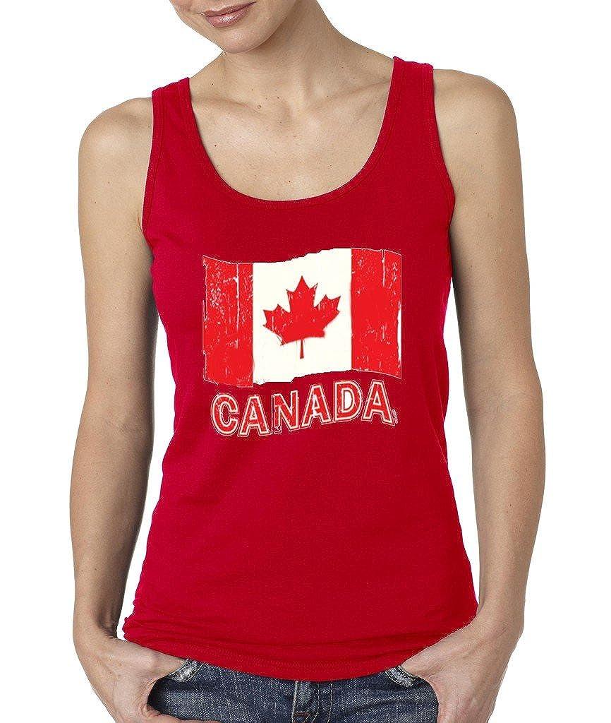 VISHTEA Canada National Flag Retro Women's Tank Top Distressed Flag Eh Team Tank Tops
