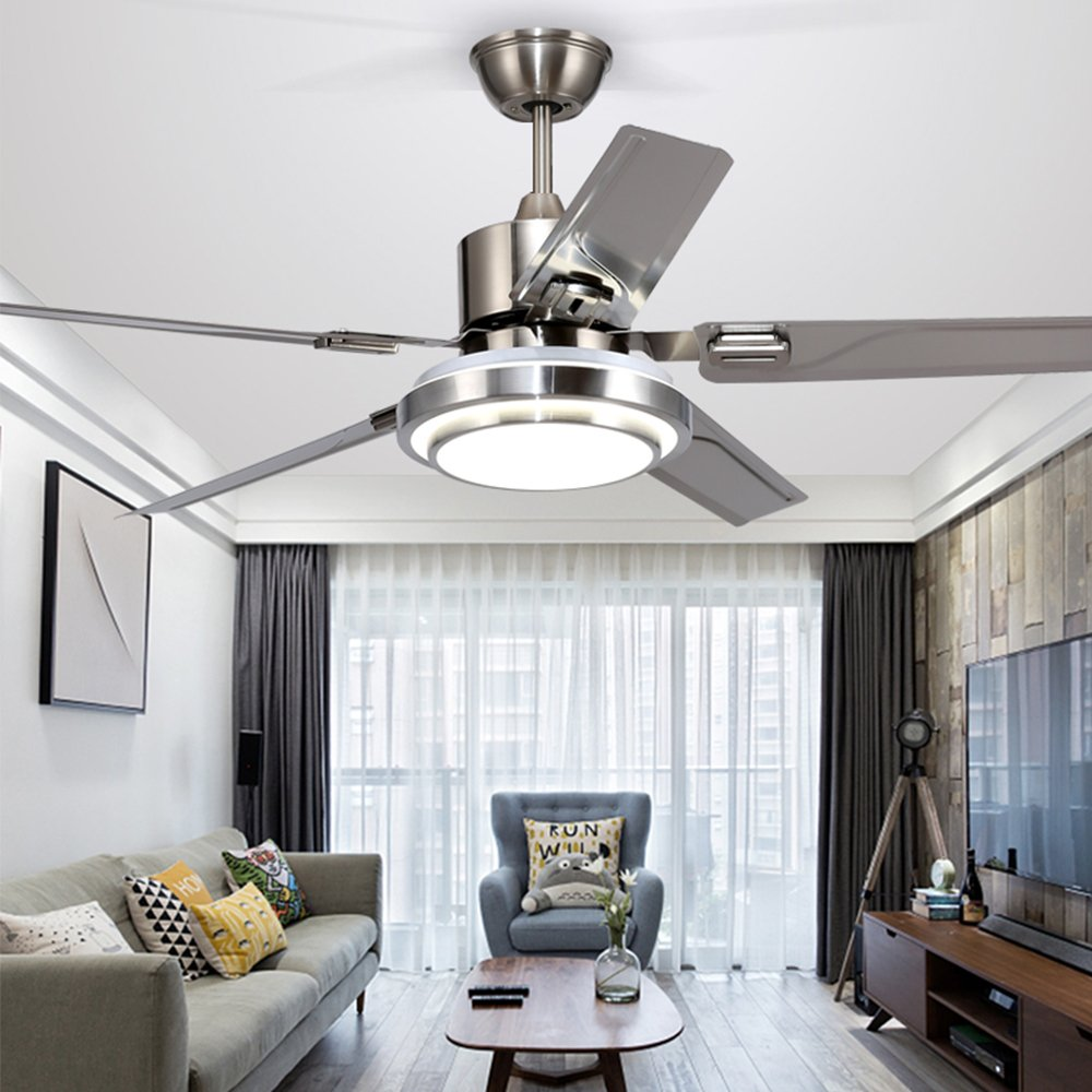 Andersonlight Brushed Steel Indoor Ceiling Fan, Light Kit with White ...