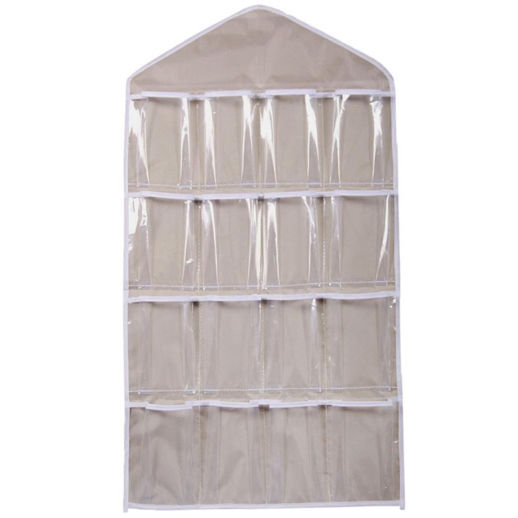 Wall Hanging Storage Bag,IEason 16Pockets Clear Hanging Bag Socks Bra Underwear Rack Hanger Storage Organizer (Beige)