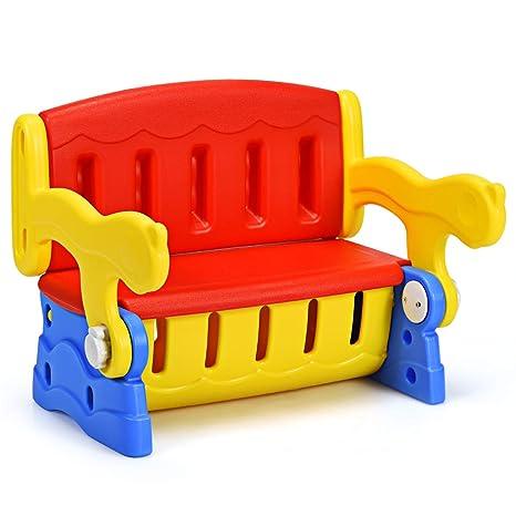 Costway 3 In1 Kinder Sitztruhe Kindertisch Mit Stuhl Sitzbank Für Kinder Kinderbank Kindersitzgruppe Kindermöbel Mit Truhe Kippbar Rot
