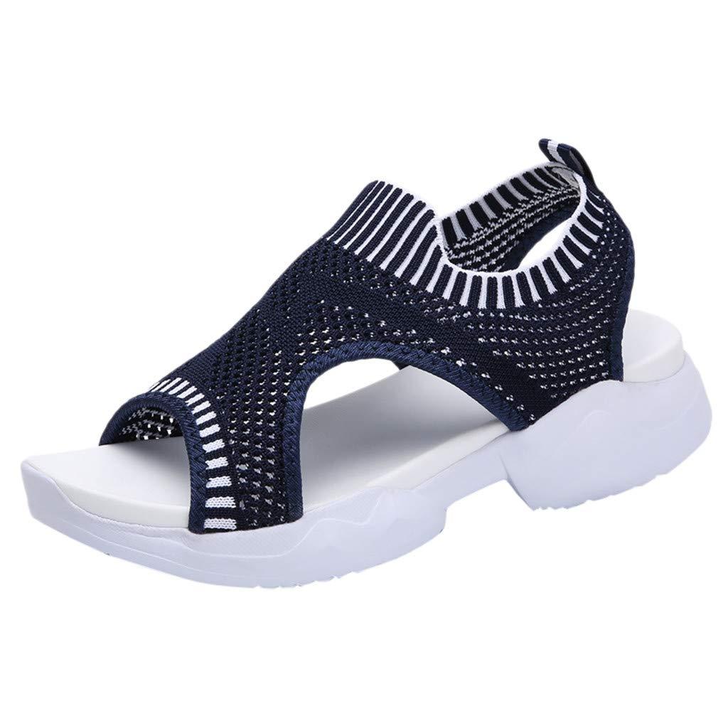Londony Women's Athletic Walking Shoes Casual Mesh-Comfortable Work Sneakers Lightweight Mesh Slip on Sneakers Dark Blue