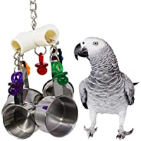 Stainless Steel Bird Ring Swing Toys, AOLVO 1969 Pot Delight Bird Toy Parrot Cage Toys For Amazon Birds - Parrot Chew Toy - Bird Beak Molar Toy - Stand Stainless Steel Hanging Cage Craft Toy