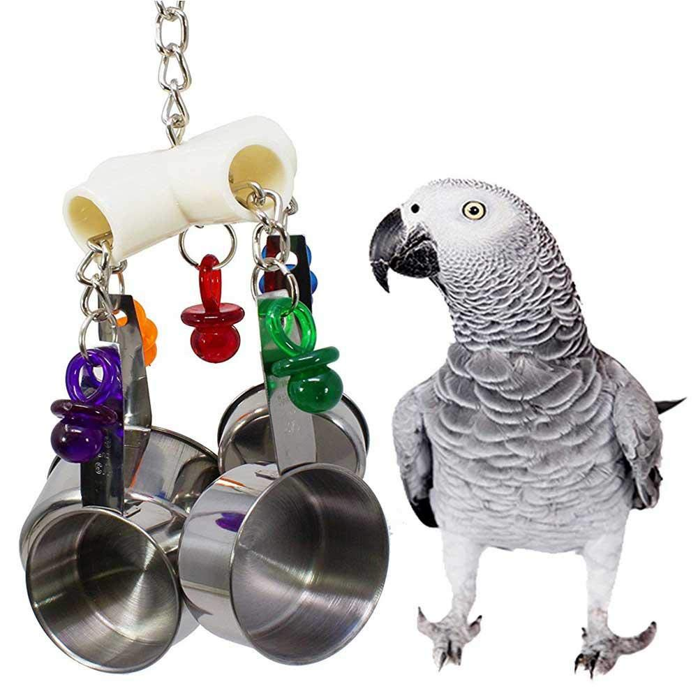 Aolvo Stainless Steel Bird Ring Swing Toys, 1969 Pot Delight Bird Toy Parrot Cage Toys for  Birds - Parrot Chew Toy - Bird Beak Molar Toy - Stand Stainless Steel Hanging Cage Craft Toy