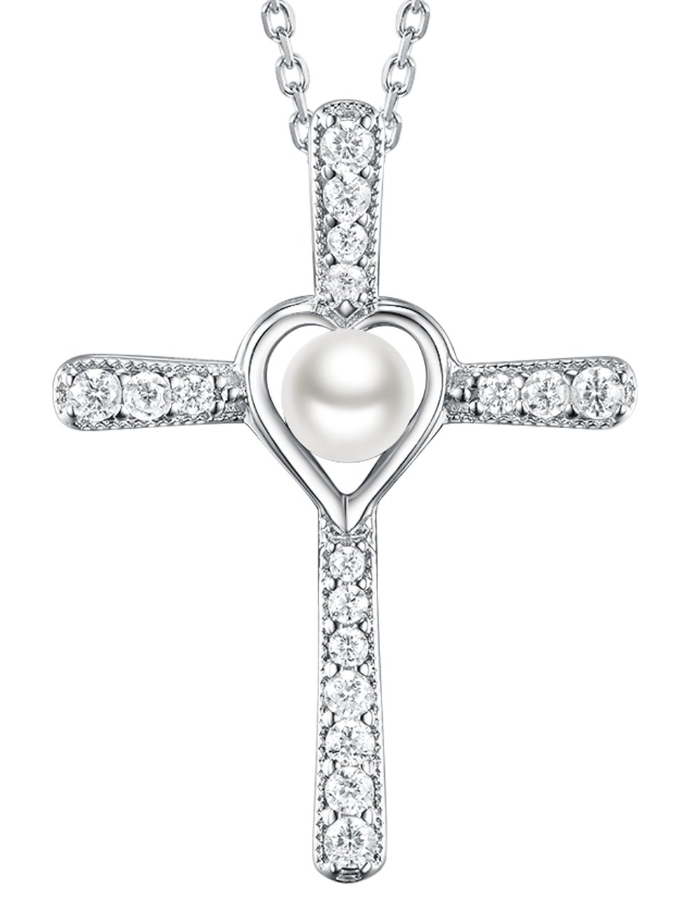 Love Heart God Cross Pendant White Pearl necklace June Birthstone Jewelry Anniversary Gift Birthday Gifts for Women for and Family Sterling Silver