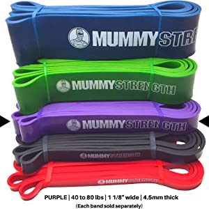 MummyStrength Resistance Bands for Men and Women. Best Stretch Band for Pull Up Exercise and Powerlifting. Works With Any Pull Up Bar or Station. Digital Workout Guide. NOTE: Each Band Sold Separately