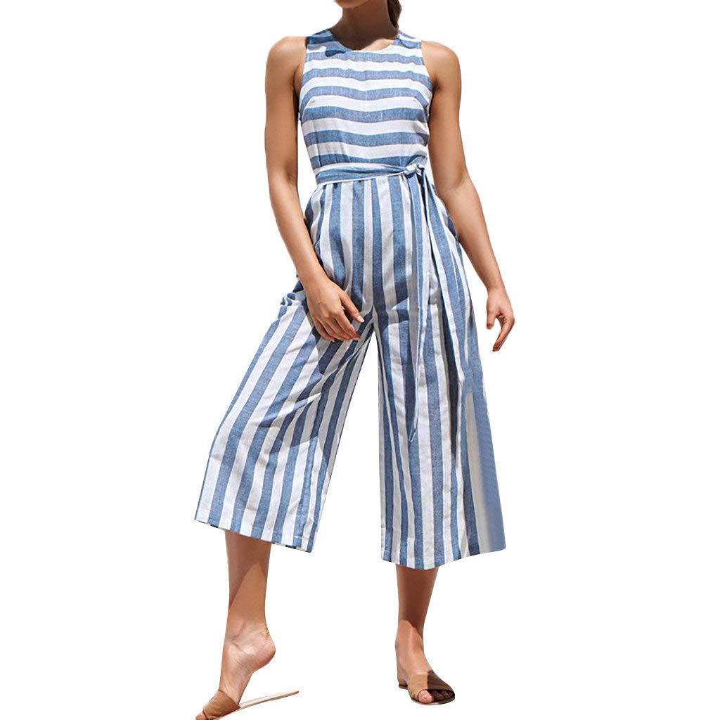 Fanteecy Women Girls Striped Jumpsuits Summer Casual High Waist Linen Sleeveless Rompers Wide Leg Capri Pants Playsuits (Blue, M)