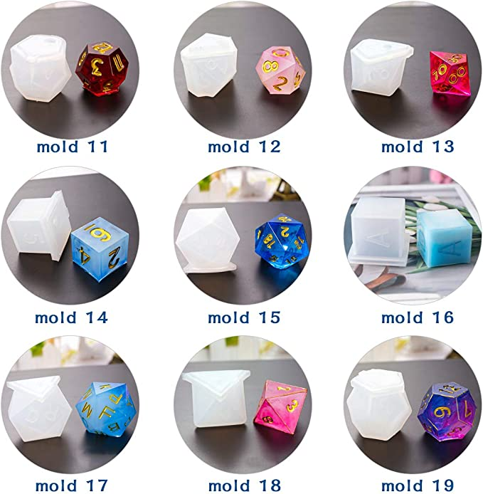 10Pcs Resin Mold FineInno 9Pcs Resin Casting Molds Polyhedral Dice Mold Epoxy Resin Silicone Molds Multi-Faceted Diamond Stone Jewelry Molds for Crafting