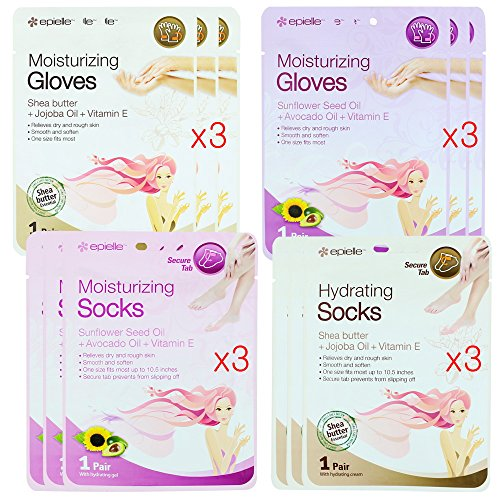 Kareway Epielle Moisturizing Gloves and Socks (Pack of 12)