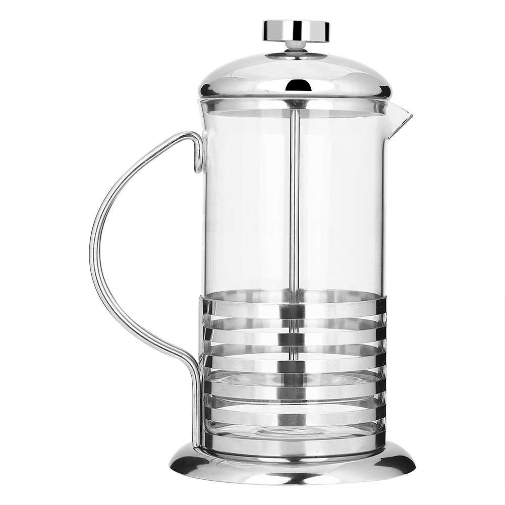 Coffee Press Pot 600mL/800mL Portable Cafetiere French Press Filter Handheld Hot Tea Pot Press Plunger Glass Hollow(600ml) Fdit
