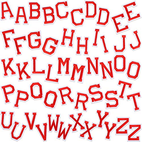 Willbond 52 Pieces Letter Iron On Patches Sew On Alphabet Appliques with Ironed Adhesive Letter A-Z Embroidered Decorative Repair Patches for Shoes Hat Bag Clothing Supplies (Red)