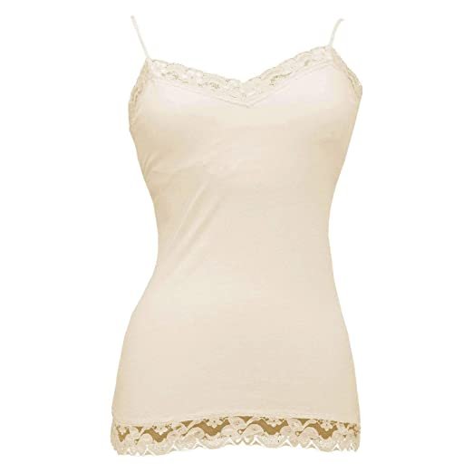 87960ccdf4c42 Image Unavailable. Image not available for. Color  Alexa Rae LACE Tank Top  Cami Plain Slip Built in Bra