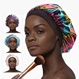 Silk Bonnets for Curly Hair, Satin Bonnets for Women Soft Colorful Printing Sleep cap with Premium Elastic Band Sleep…