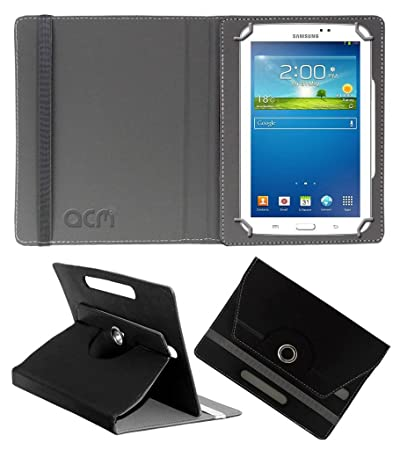 Acm Rotating Leather Flip Case Compatible with Samsung Galaxy Tab 3 Sm T211 Tablet Cover Stand Black