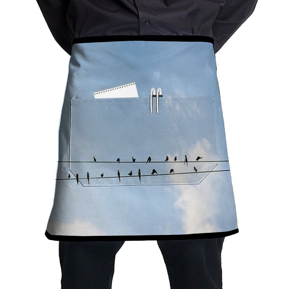 Guiping Swallows Sitting On Power Cord Relaxing Tranquil Spring Day Clear Sky Kitchen Apron With Pockets For Men And Women