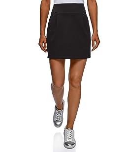 oodji Ultra Mujer Falda de Punto con Cremallera, Negro, ES 36 / XS