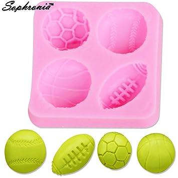 Star-Trade-Inc - Molde de silicona para decoración de tartas, 10 piezas, mini baloncesto de fútbol, diseño de rugby y pelota de tenis: Amazon.es: Hogar