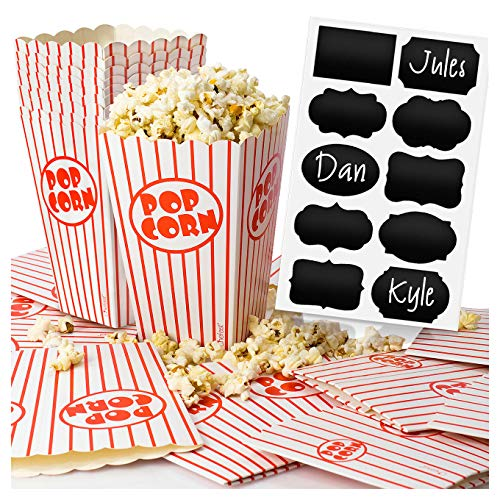 Chefast Popcorn Box Pack - 22x Red and White Striped Boxes With 10x Chalkboard Stickers - Ultimate Party Favor - Perfect for Birthday and Theater Themed Parties, Movie Nights, Weddings, Carnivals etc. -