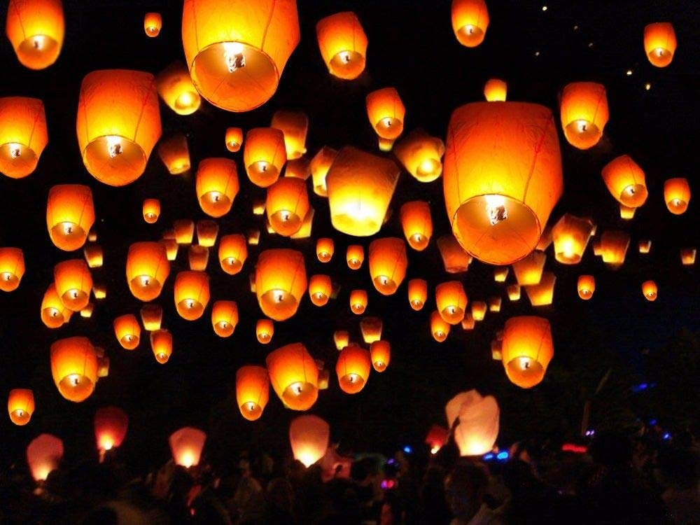 10/20/50/100pcs White Paper Chinese Lanterns Sky Fly Candle Lamp for Wish Party Wedding (100) by Mandorra